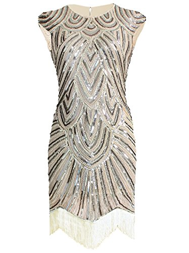 Vijiv Art Deco Great Gatsby Inspired Tassel Beaded 1920s Flapper Dress, Small, Beige