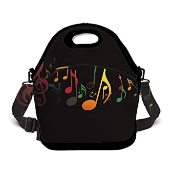 445d1ac5195c Amazon.com - OKAYDECOR Colorful Music Note Insulated Neoprene Lunch ...