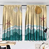 Blackout Curtains,W52 x L63,Rod Pocket Curtain Panels for Bedroom & Kitchen Ocean,Sea Waves Sandy Beach with Starfish Shell Oyster Figures Exotic Holiday Picture,Sand Brown Teal