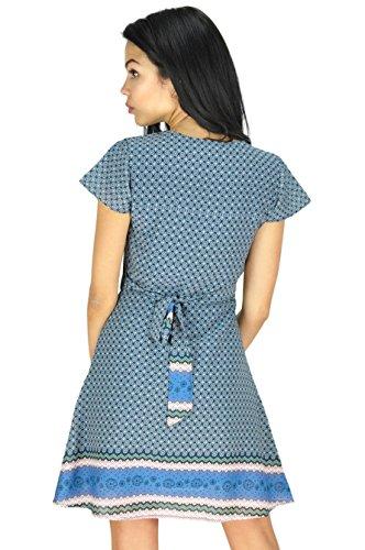 Femmes manches courtes robe de soirée avec de motif géométrique