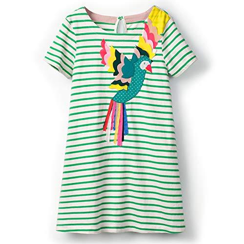 FreeLu Toddler Girl Clothes Cartoon Dress Casual Short Sleeves Dresses Cotton T-Shirt(6T,Green Parrot) ()
