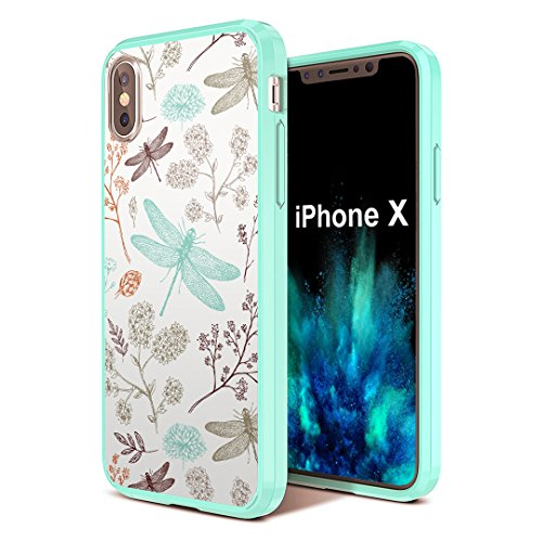 iPhone X Case, Capsule-Case Hybrid Slim Hard Back Shield Case with Fused TPU Edge Bumper (Teal Mint Green) for iPhone X - (Dragonfly)