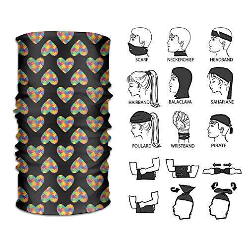 Queendesign Heart Autism Awareness Neckwarmer Headwrap Mask Bandana Scarf Head Wrap Sport Headband Sweatband UV Protection Face Bandana Mask 12 in 1 Multi Function