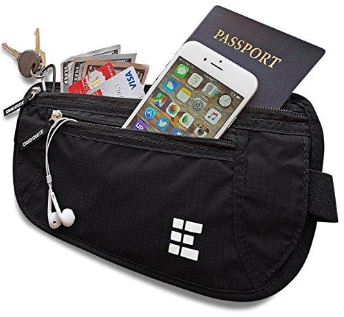 Zero Grid Money Belt w/RFID Blocking - Concealed Travel Wallet & Passport - Men Zero