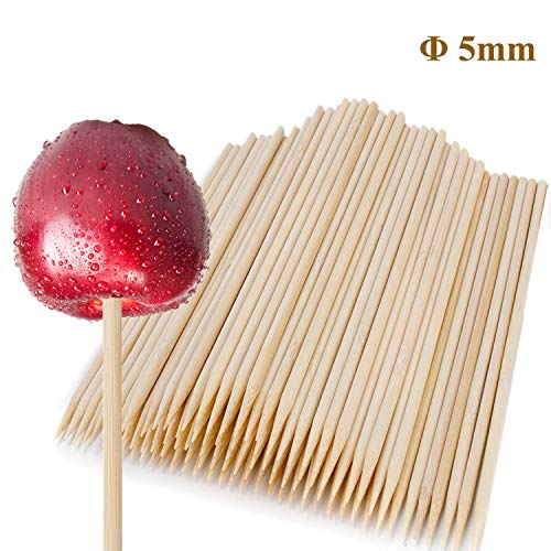 110 Pcs 7 Inch Study Bamboo Skewers - 5mm Thick Natural Semi Point Bamboo Sticks BBQ Caramel Candy Apple Sticks for Appetizers, Corn Dog, Corn Cob, Cookie, Lollipop, Chocolate Fountain, Kabob, Grill,