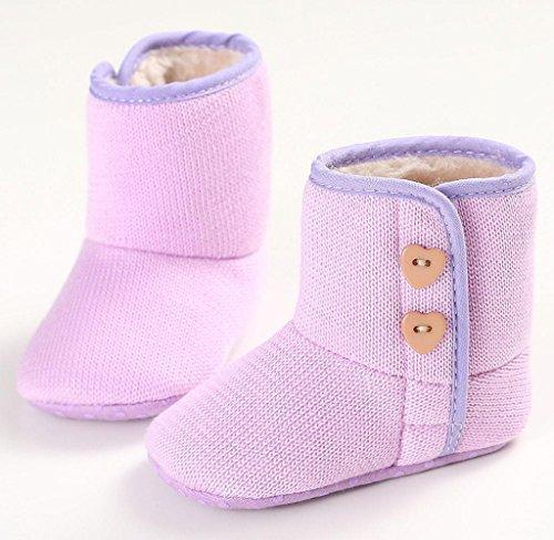 Covermason Kinder Baby Mädchen Jungen Kleinkind Schuhe Krippe Schuhe Baumwolle weiche Sohle Schneestiefel Lila