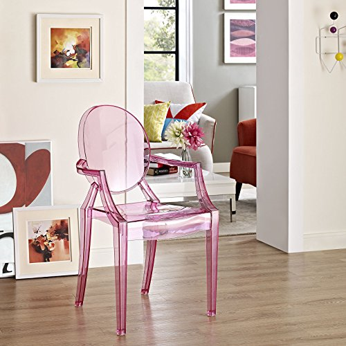 Modway Casper Modern Acrylic Stacking Kitchen and Dining Room Arm Chair in Pink - Fully Assembled