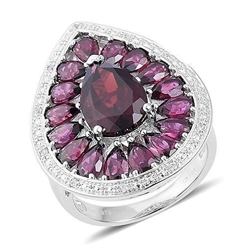 (Garnet, Multi Gemstone Rhodium Plated Silver Cluster Fashion Ring For Women 6.2 cttw. Size 7)