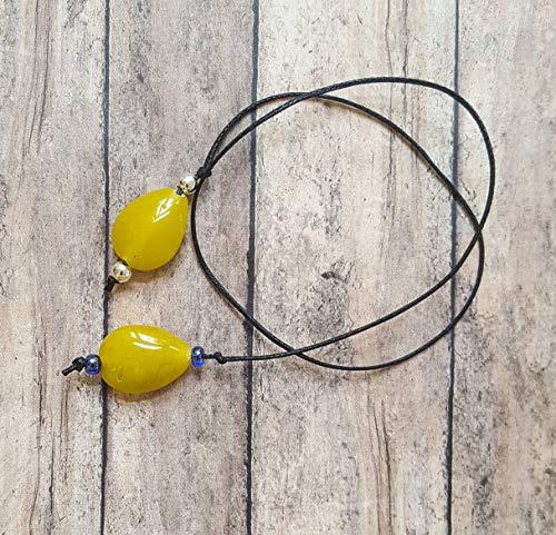 - Beaded Handmade Book Thong Yellow Teardrop Glass Beads   Bookmark   Unique