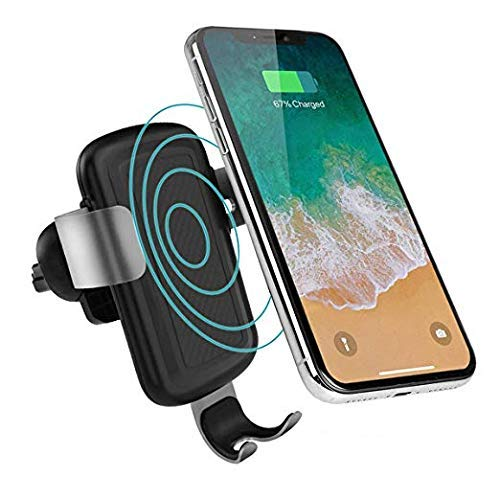 QI Wireless Car Charger Mount Air Vent Phone Holder by olagoya, Auto-clamping Fast Charging Holder for iPhone X/8/8 Plus, Samsung Galaxy S9/S9 Plus/ S8/S8 Plus, Note 8 and Other QI-Enabled Devices