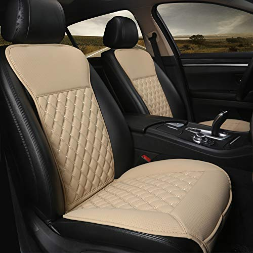 Black Panther 1 Pair Car Seat Covers, Luxury Car Seat Protectors, Universal Anti-Slip Driver Seat Cover with Backrest,Diamond Pattern (Beige)
