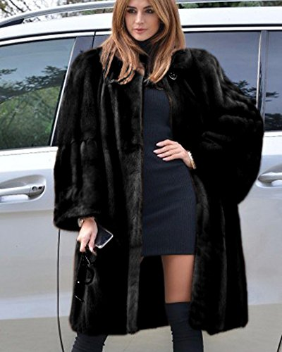 Fur Faux Long Black 8 Coat Winter Thick Women's Trench Oversize Jacket Outdoor Parka 20 Overcoat Aofur Warm Casual pwRIfv