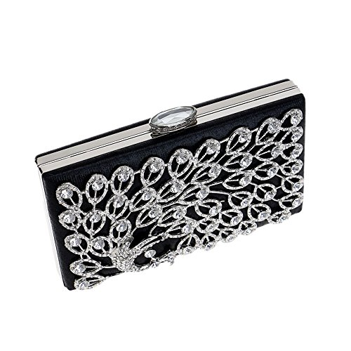 Diamante Women Bag For Clutch Ladies Party Bridal Prom Gift Purse Glitter Peacock Bag Black Shoulder Evening Handbag Clubs Wedding SqCYSgw