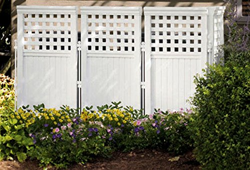 made-in-usa-white-uv-resistant-4-panel-resin-outdoor-privacy-screen-hides-garbage-cans-recyclables-bikes-portable-outdoor-patio-screen-enclosure-create-a-private-area-maintenance-free-never-needs-pain