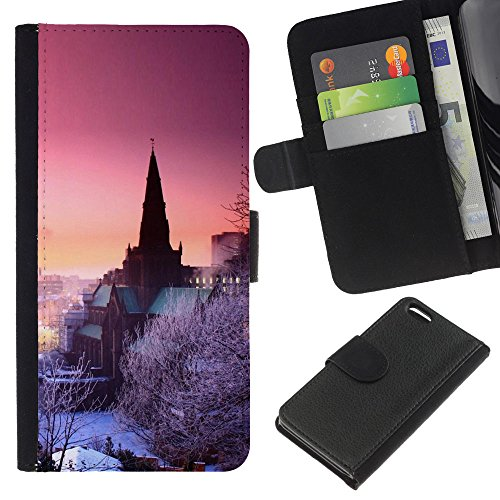 Lead-Star (Nature Purple Pink Winter Sky) Colorful Impression Holster Cuir Wallet Cover Housse Peau Cas Case Coque Pour Apple iPhone 5C