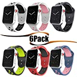 HILIMNY Hailan Sports Compatible for Apple Watch Band,Soft Silicone Sport Band Replacement Wrist Strap Compatible for Apple iwatch Series 1/2/3,Nike+,Sport,Edition,42mm M/L,6 Pack