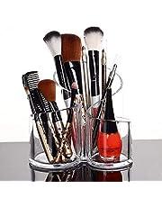 PuTwo Kosmetika förvaring smink förvaring penselhållare kosmetisk arrangör makeup arrangör gjord av akryl rund, 3 sektioner