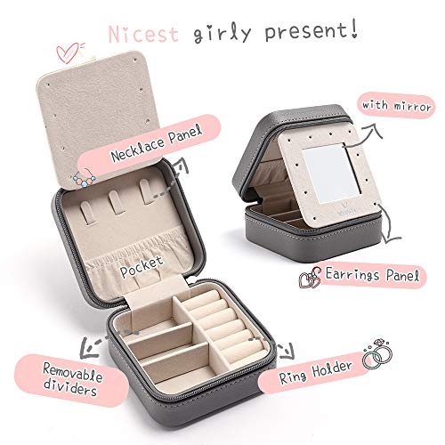 Grey Vee Travel Jewelry Box with Mirror Small Jewelry Organizer Display Storage Case for Women Girls Earrings Rings Necklaces