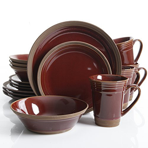 Elite Dinnerware Collection (Gibson Elite Brynn 16 Piece Dinnerware Set, Burgundy)