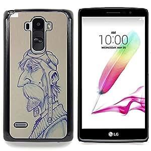Eason Shop / Premium SLIM PC / Aliminium Casa Carcasa Funda Case Bandera Cover - Gráfico del hombre del bigote - For LG G4 Stylus H540