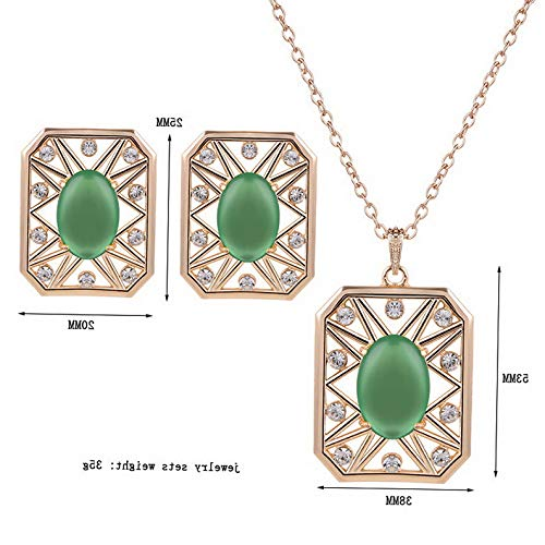 Endicot Sale Fashion Lady Women Jewelry Set Necklace Earrings Zircon Square Jewelry Set | Model ERRNGS - 4090 |