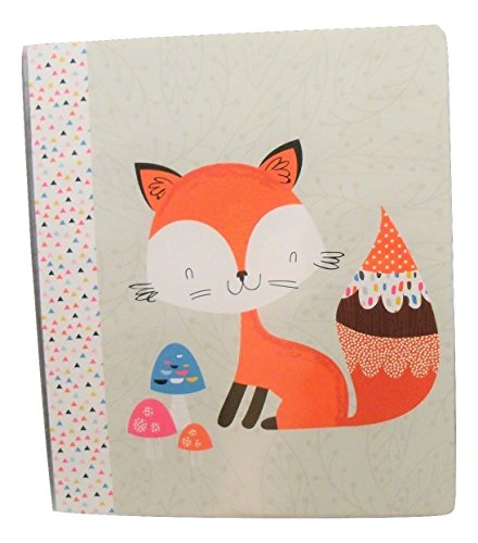 """Carolina Pad Studio C 1"""" O-Ring Vinyl Binder with Pockets ~ Forest Friends (Red Fox with Decorative Mushrooms; 10"""" x 11. 5"""")"""