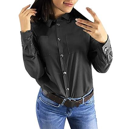LILICAT® Moda Mujer Casual Collar de Solapa Sólido Botón de ...