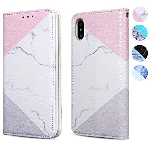 ZCDAYE iPhone XR Case,[Granite Marble Pattern] PU Leather Magnetic Closure Folio Inner Soft TPU with [Card Slots] Stand Flip Wallet Cover for iPhone XR 6.1