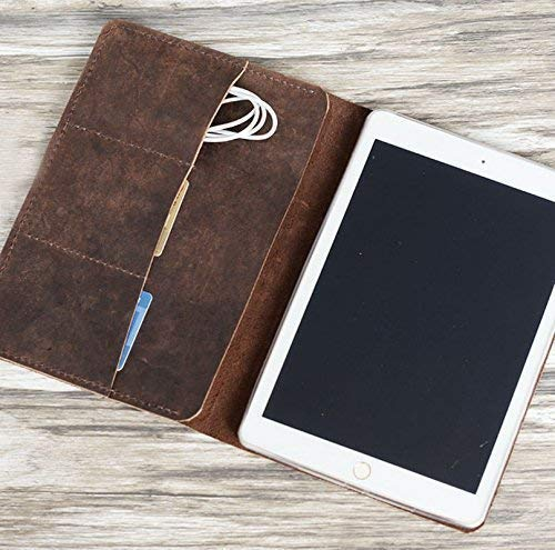 Personalized Genuine Italy Vintage Leather Handmade Case for Apple Ipad new 9.7 / mini 3 / mini 1/2 / 3/4 / air/air 2 / air 3 / Luxury Leather Folio Cover (Distressed Brown)