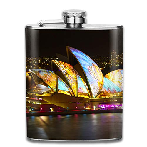 Laki-co Colors Sydney Theatre Wine Water Hip Flask for Liquor Stainless Steel Bottle Alcohol 7oz