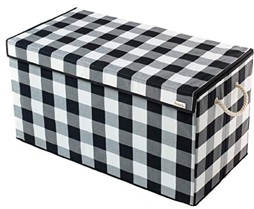 Nest & Be X-Large Premium Toy Storage Chest - Black & White Check, Buffalo Plaid, Durable Sides w/Divider, and Attached, Flip-Top Lid. for Home Organization, Nursery, Kids playroom, Pet Items, Closet (Chest With White Storage Baskets)