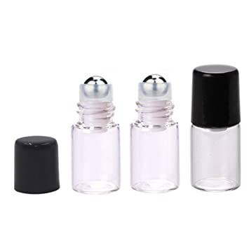 deae1d7490ca 25 Pcs Clear Glass Mini Roll On Bottles Empty Essential Oil Roller Ball  Bottles Perfume Lip Blam Cosmetic...