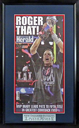 "New England Patriots ""Super Bowl LI Champions"" Boston Herald Newspaper Display Feat. Tom Brady Framed"