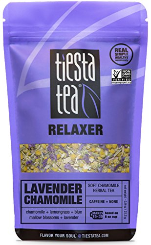 - Tiesta Tea Lavender Chamomile, Soft Chamomile Herbal Tea, 30 Servings, 0.9 Ounce Pouch, Caffeine Free, Loose Leaf Herbal Tea Relaxer Blend, Non-GMO