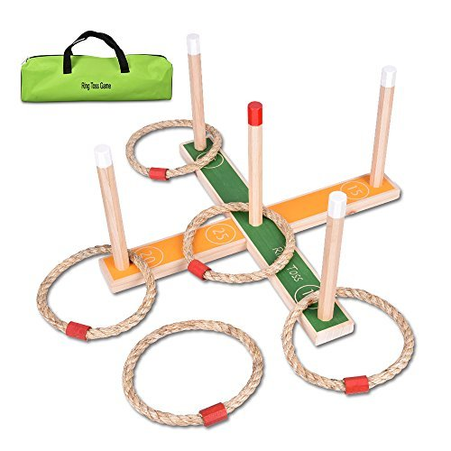 Ring Toss Game - Wooden Ring Toss Set With Case, Suitable For All Age & In/Outdoor, Christmas Gift Toy For Kids To�Improve Eye-Hand Coordination & Fine Motor Skills Ring Toss Game