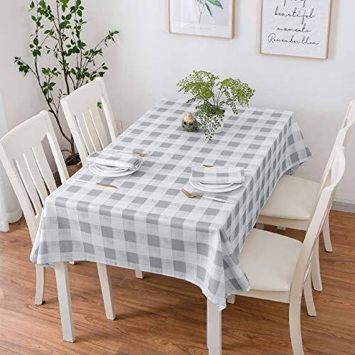 Aoohome 52 x 52 Inch Tablecloth, Water Repellent Spill Proof Square Table Cloth Polyester Buffalo Plaid Pattern for Restaurant Party, Heavy Weight, Machine Washable, Grey