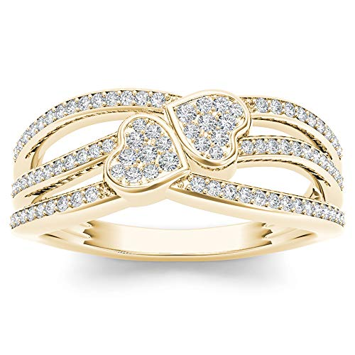 10k Yellow Gold Diamond Double Heart Engagement Ring Sz 6.5 (0.20ct/I2,H-I) Ideal Gifts For Women (20 Carat Diamond Ring)
