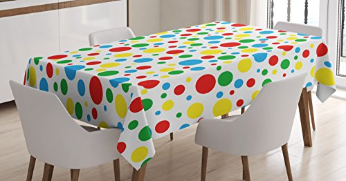 Ambesonne Colorful Tablecloth, Blue Multicolored Traditional Polka Dots with Many Sizes Circus Themed Illustration, Dining Room Kitchen Rectangular Table Cover, 60 W X 90 L Inches, Multicolor]()