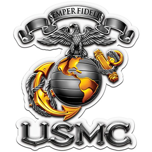 Collectible Marine Corps Decals (4in,2pack), Share your Support with our Vinyl USMC-SEMPER FIDELIS Stickers for your Home, Car, Cases and more, Souvenir Gifts for Marine Corps ()