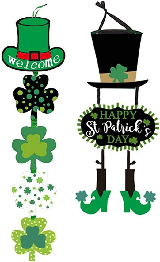 Amazon Com Boao 2 Pieces St Patrick S Day Welcome Sign Shamrock