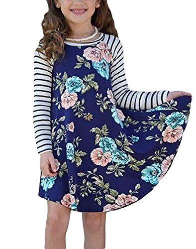 Blibea Little Girls Fall Dresses Blue Spring Fling Floral Striped Sleeve A-line Swing T-Shirt Short Dress Size 8 9