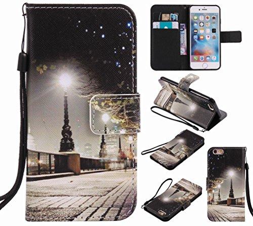 Custodia Apple iPhone 6s Plus (5.5) Cover Case, Ougger Portafoglio PU Pelle Magnetico Stand Morbido Silicone Flip Bumper Protettivo Gomma Shell Borsa Custodie con Slot per Schede, Scena Notturna