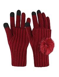 Novawo Winter Soft Knit Touchscreen Gloves + Graceful Fingerless Arm Warmer Set for Women - Keep Your Hands Double Warm