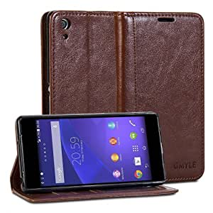 GMYLE(R) Wallet Case Simple for Sony Xperia Z2 Sirius - Brown Crazy Horse Pattern PU Leather Protective Flip Folio Slim Fit Wallet Stand Case Cover (with Card Slots and Money Pocket)