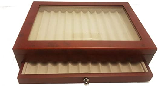 caja de madera con Vitrina caja Estuche para 23 plumas acabado radica: Amazon.es: Relojes