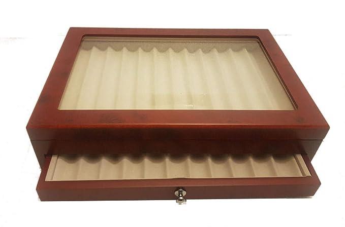 Caja de Madera con Vitrina Caja Estuche para 23 Plumas ...