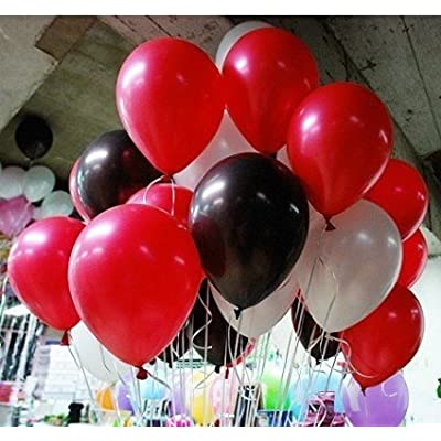 10 Inch White And Black And Red Latex Balloons for Party Balloons Decoration 100 Pcs/pack