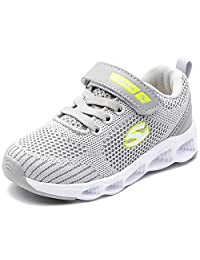 XYZDOUBLE Boys Girls Lightweight Breathable Casual Sneakers Kids Strap Athletic Sport Running Outdoor Indoor Shoes