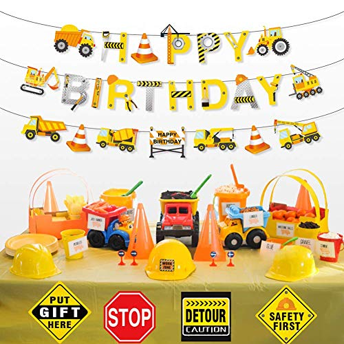 Construction Birthday Party Supplies Banner - Kids Birthday Party Construction Decorations- with Dumb Truck Excavator Crane and more for Boys Under Con,Excavator Bulldozer Truck Hanging Garland Banner