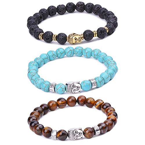 Buddha Baby Costume (Infinite U Women's Men's Buddha Bracelet 9mm Beads Wrist Mala Alloy Energy/Lava Stone Stretch Bracelet, Therapy Yoga Meditation, Brown/Blue/Black)